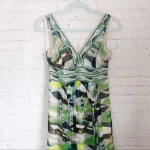[BCBG] green silk geometric print maxi dress sz 2